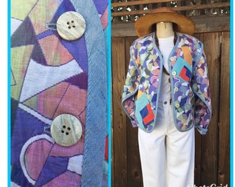 Vintage Canvasbacks Lutton And Horsefield  Women's Jacket Colorful Abstract Design Small