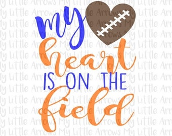 SALE- Football mom SVG, DXF, Eps, png Files for Cutting Machines Cameo or Cricut - football mom svg - football svg - my heart is on the fiel