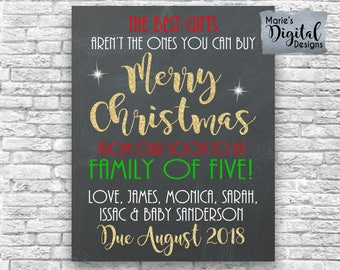 PRINTABLE Best Gifts Merry Christmas Family Of Five Chalkboard Pregnancy Baby Announcement Gold Photo Prop / Sign / Poster / Card JPEG FILE