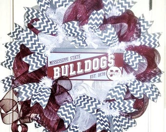 MSU wreath, Mississippi State wreath, MSU Bulldogs wreath, Football wreath, collegiate wreath, team spirit wreath, maroon wreath
