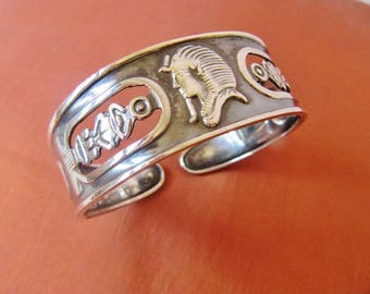 Amazing Vintage Egyptian Solid Sterling Silver Bracelet of Ancient King Tutankhamun Mask...STAMPED