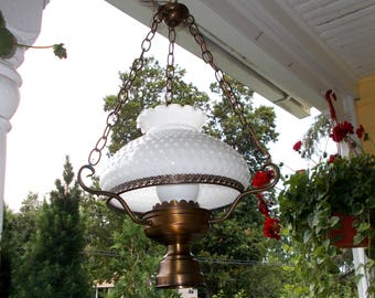 Vintage Ceiling Hurricane Lamp, Hobnail And Copper