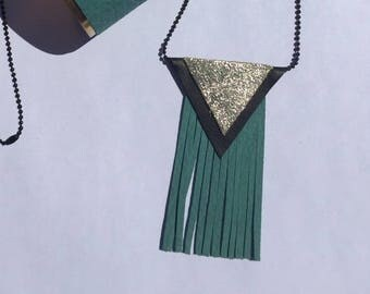 Black and gold leather triangles necklace, fringed turquoise