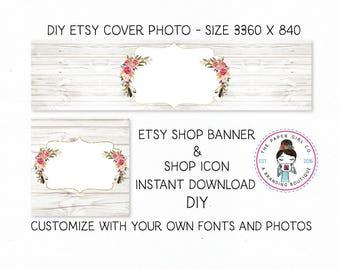 DIY etsy cover set etsy shop set premade DIY etsy set DIY etsy branding set boho etsy set bohochic etsy set wood etsy set Instant Download