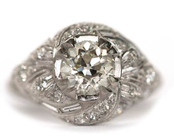 Circa 1930's Art Deco Platinum 1.02ct Old European Cut Diamond Engagement Ring - VEG 906