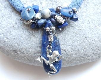 Lapis lazuli & charm frog