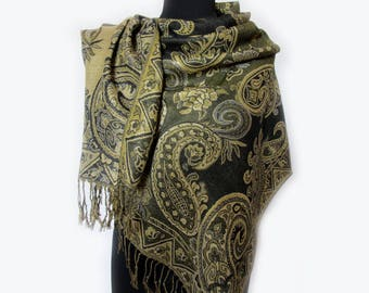 Paisley Green Scarf, Autumn Ethnic Scarf, Paisley Shawl, Fashion Floral Scarf, Gold Indian Shawl, Ethnic Scarf, Gifts for Her Under 20