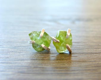 Peridot Earrings, Raw Peridot Studs, Green Crystal Jewelry, August Birthstone, Gift for Her, Tiny Post Earrings, Anniversary Gift for Wife