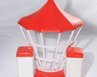 Retro Superlon Red and White Plastic Wal Mount Salt and Pepper