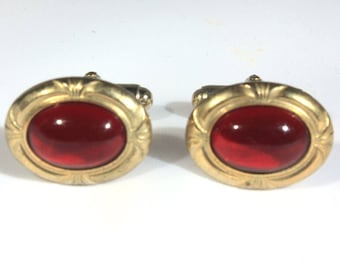 Red and Gold Mens Cuff Links, Mid Century Wedding Attire