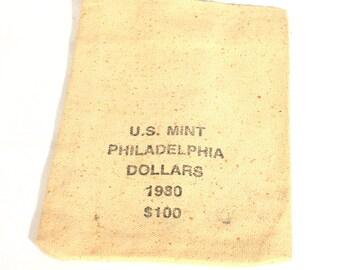 US Mint, Coin Bag, Canvas Coin Bag, Philadelphia Dollars, Dollars Coin Bag, 1980, Vintage