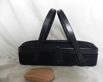 1940's or 1950's Vintage Black Suede and Leather Oval Box Purse by Waldman