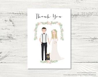 Custom Illustrated Thank You Cards | Digital Portrait Wedding Stationery
