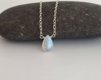Moonstone necklace, Rainbow Moonstone teardrop pendant with Sterling silver chain, girlfriend gift, Valentines Day gift, best friend, sister