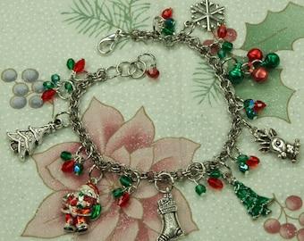 Silver Christmas Charm Bracelet