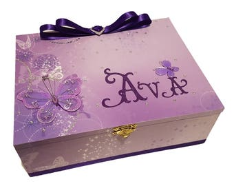 Delightful Purple Butterflies Keepsake Box, Trinket Box, Treasure Box, Memory Box, Baby Box, Wooden Box, Personalised Box, Birthday Box