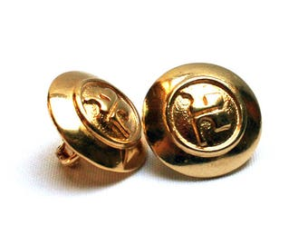 Vintage COURREGES earring clips, Golden tone with Andre Courreges logo, 1970s