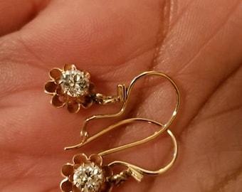14k Diamond Dangle Earrings Vintage