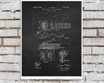 Vintage Fender Guitar Patent Print #2 Black Chalkboard Art Fender Guitar Patent art print Electric Guitar Gift for Musician