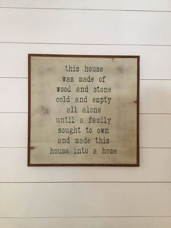 READY TO SHIP! House A Home 2'X2' | distressed antiqued wall plaque | shabby chic farmhouse decor | framed wall art | vintage style word art