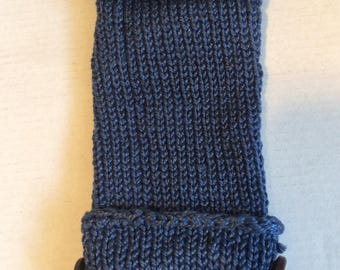 Willie warmer with open tip and optional cover with buttons, blue, handmade crochet