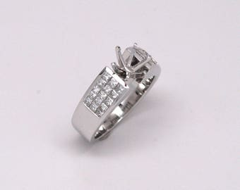 1ctw Princess Cut Diamond Semi-Mount Engagement Ring 18k White Gold