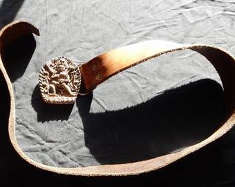 Bergamot Brass Works Belt Buckle- Amorous Hindu Theme - Hand Tooled Leather - 1974 Bergamot Buckle and Belt - 1974 Bergamot Brass Belt Hindu