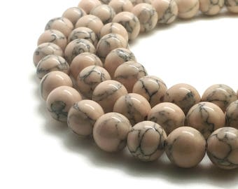 10mm Pink Howlite Beads 10mm Natural Howlite Bead 10mm Pink Beads 10mm Howlite Beads Howlite 10mm Howlite Pink 10mm