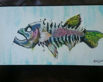 Rainbow Trout Skeleton approx 18x14 acrylic with clearcoat and wooden frame