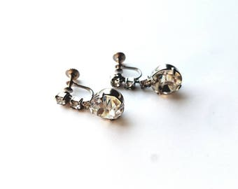 Vintage Silver Drops with Prong Set Crystal Rhinestones Screw On Earrings