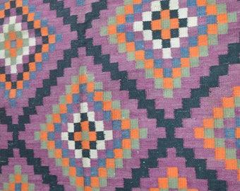 FREE SHIPPING Vintage kohistani Geometrical Pattern Qalino Family Woven Natural Dye Washable Kilim
