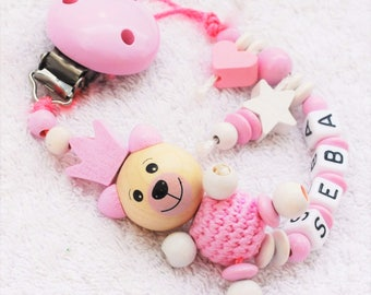 Pacifier clip personalized with names for girls