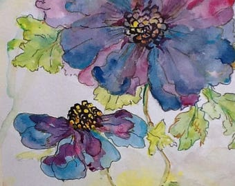 Artwork,  original watercolour, blue and purple flowers , signed , home decor , garden picture, wall art, garden flowers,  special gifts
