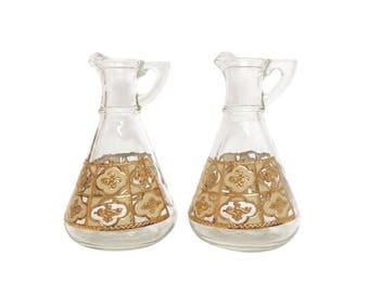 Mid Century Oil & Vinegar Set with Gold Motif