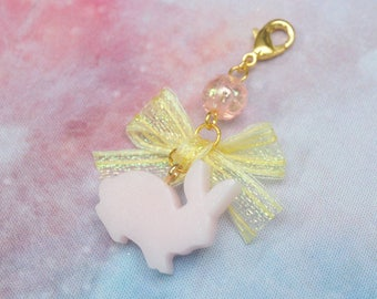 Bite Sized Bunny Charm in Pearly Pink