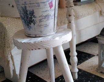 Small stool rustic weathered white off-white shabby