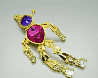 Vintage Jewelry Moveable Clown Faceless Clown Rhinestone Brooch Fashion Jewelry B5051