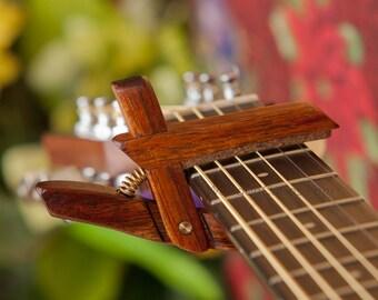 Koa ~ Wooden Guitar Capo ~ Adjustable Tension ~ WoodenK ~ (Acoustic, Electric, Classical, Banjo & Ukulele) Guitar Player Gift