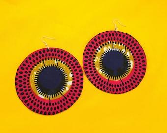 African Earrings, Round Earrings, Unique Earrings, Circle Earrings, Handmade Jewelry, Pink Earrings, Eco-Friendly Jewelry