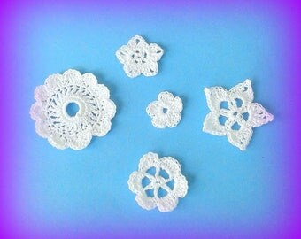 Set various white flowers with crochet lace for customization made in France embellishment