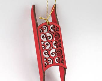 Red Sled Christmas Ornament