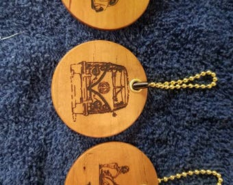 VW Cherry wooden keychains