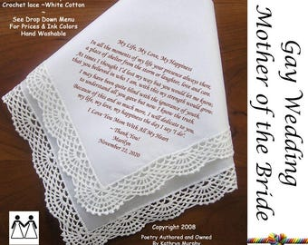 Gay Wedding ~ Mother of the Bride Gifts From the Bride L117 Title, Sign & Date for Free!  Wedding Hankerchief Printed Handkerchief