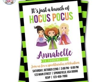 Hocus Pocus Invitation, Hocus Pocus Birthday Party Invite, Halloween