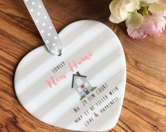 Personalised Lovely New Home Ceramic Heart - Housewarming Gift - New Home - Ceramic Keepsake
