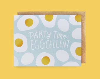 Greeting Card, Stationery, Birthday, Eggs, Party, Food Themed