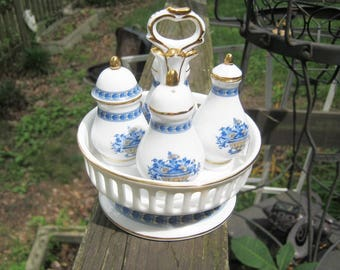 Limoges China Condiment Set, White China With Blue Trim, Salt And Pepper, Oil And Vinegar, Holder With Handle, Maker's Mark, Gold Trim,