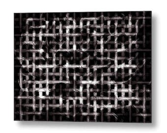 "Beautiful Barrier, Modern Industrial Metal Wall Art: Black & White Contemporary Abstract Print by Susan Maxwell Schmidt FREE Ship 24"" x 17"""