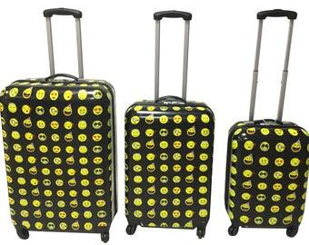 April Fashions 3pcs set Emoji 4 wheels Polycarbonate Hard Case luggage Black Yellow