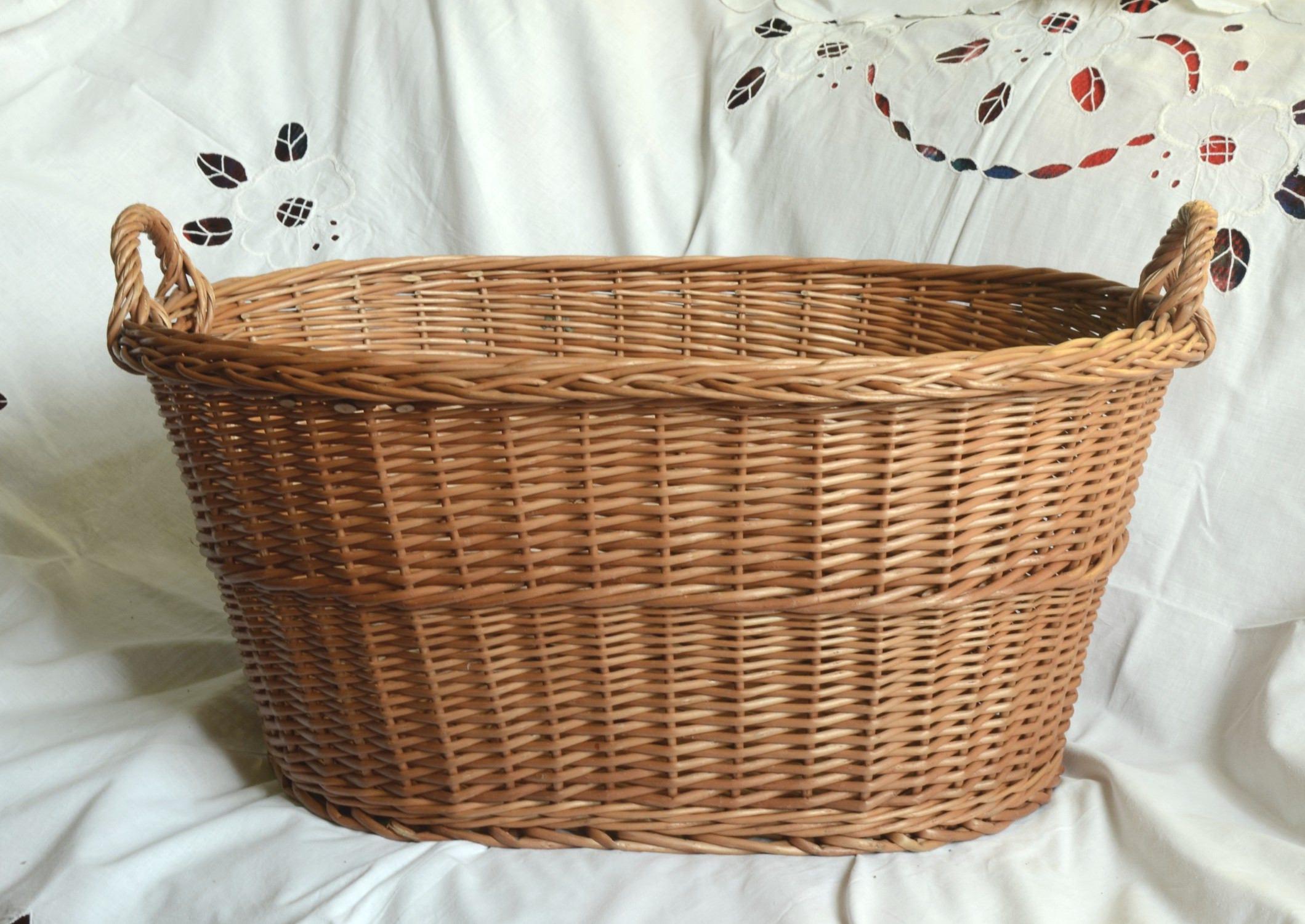 Large Wicker Laundry Basket Big Laundry Basket Handled Oval